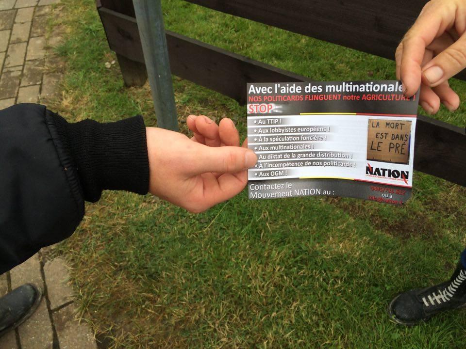 Les militants de NATION sont restés à l'entrée de la foire et ont distribué nombre de leurs tracts au public qui  arrivait ainsi que sur les véhicules garés dans les différents parkings.